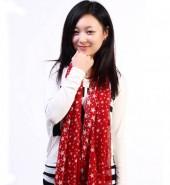 五角星长巾-韩版时尚围巾红