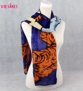 老虎长围巾(纹身系列) 蓝底印黄老虎
