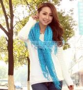 毛线方巾 湖蓝