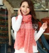 水波纹长巾-西瓜红