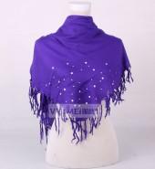 四须金属钻纯色方巾  紫