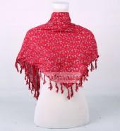 小花三角巾 红
