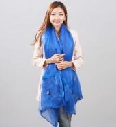 蕾丝花朵双层长围巾—宝蓝色