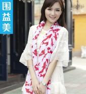 海豚长围巾-红-欧美白搭时尚长围巾简约而不单调哦