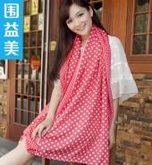 圆点长围巾-红-甜美清纯