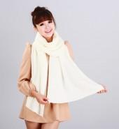花边平板毛线长围巾 白色