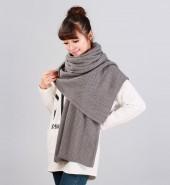 花边平板毛线长围巾 灰色