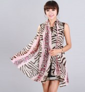 斑马豹纹绒雪纺丝巾  粉红色