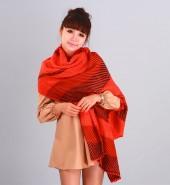 AB斜纹毛线长围巾 橘红